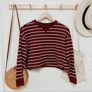 Hollister cropped striped brick red long sleeve XS